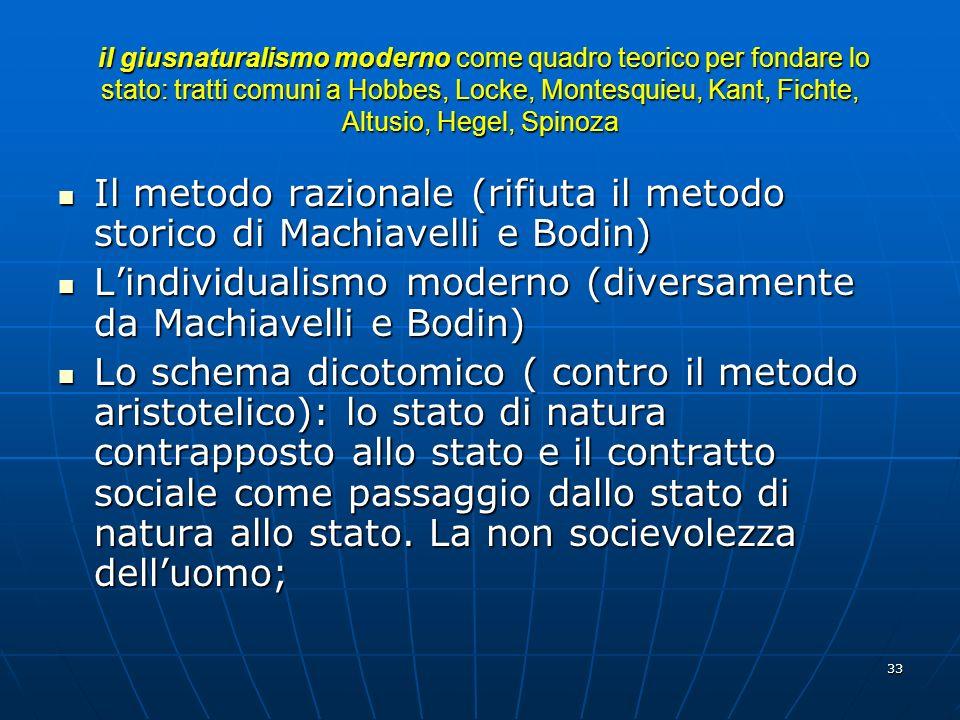 Il metodo razionale (rifiuta il metodo storico di Machiavelli e Bodin)