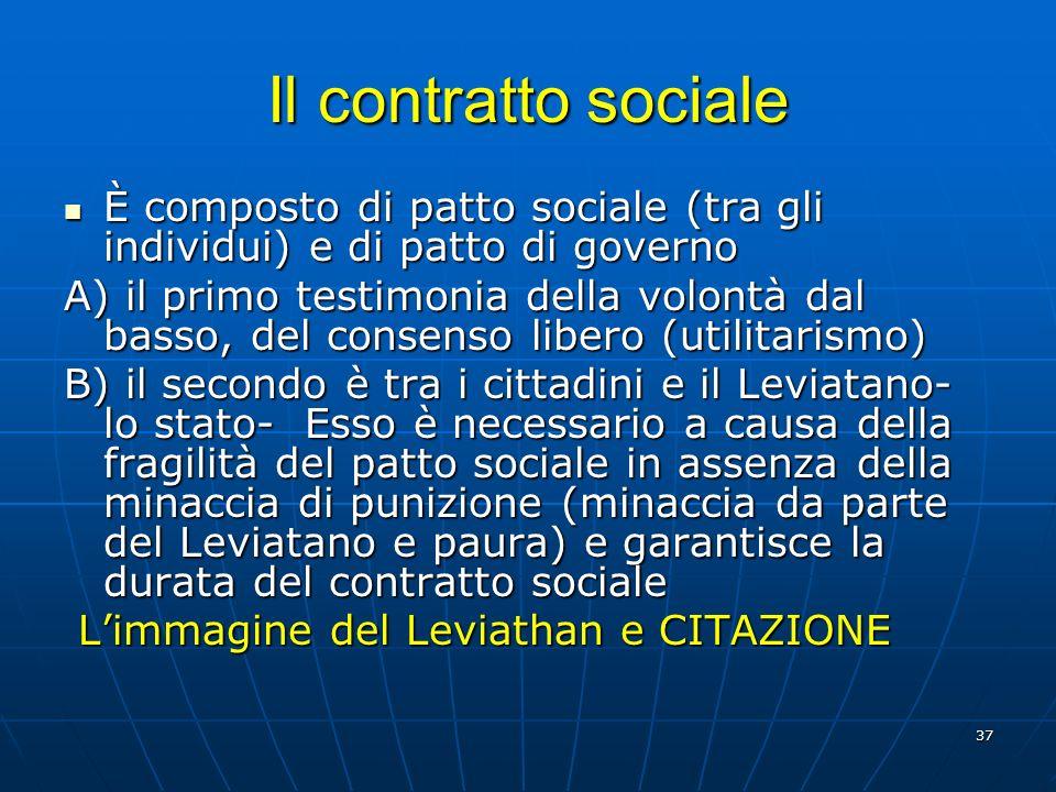 Il contratto sociale È composto di patto sociale (tra gli individui) e di patto di governo.