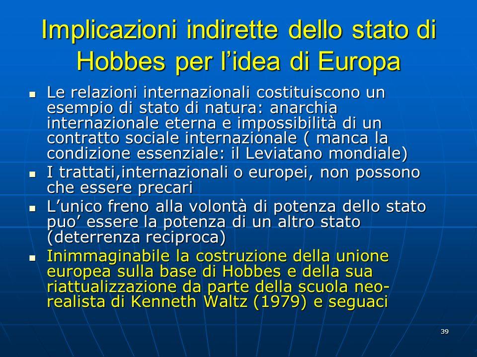 Implicazioni indirette dello stato di Hobbes per l'idea di Europa