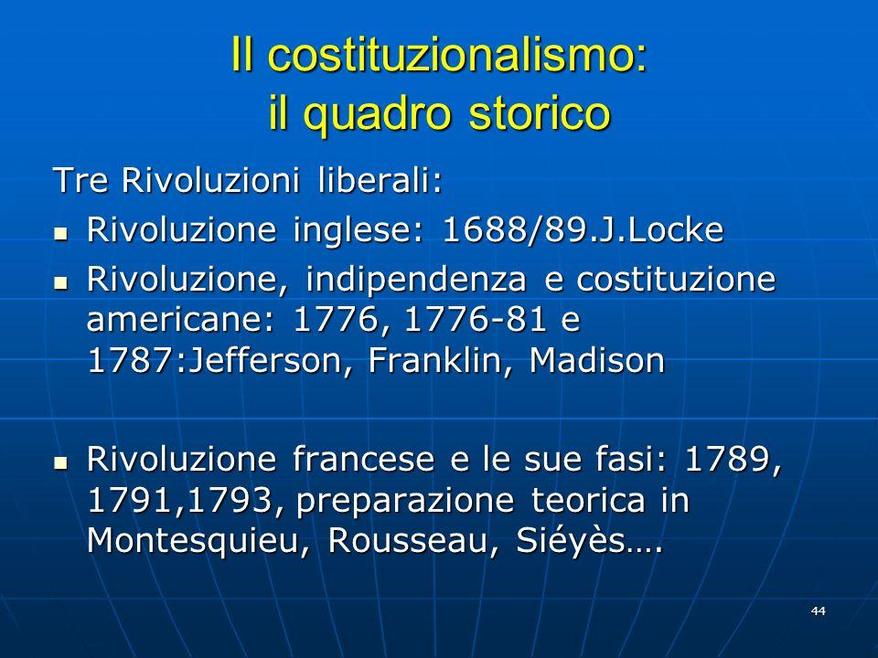 Il costituzionalismo: il quadro storico