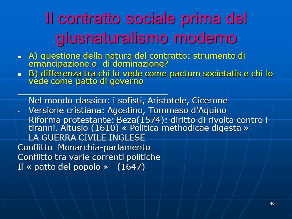Il contratto sociale prima del giusnaturalismo moderno