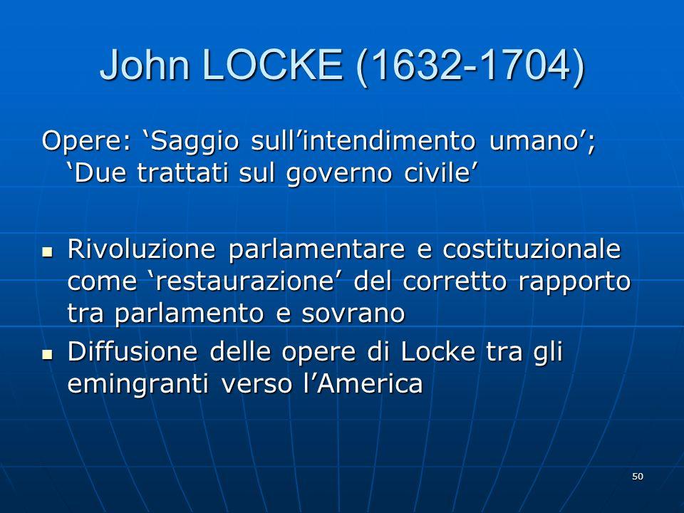 John LOCKE (1632-1704) Opere: 'Saggio sull'intendimento umano'; 'Due trattati sul governo civile'