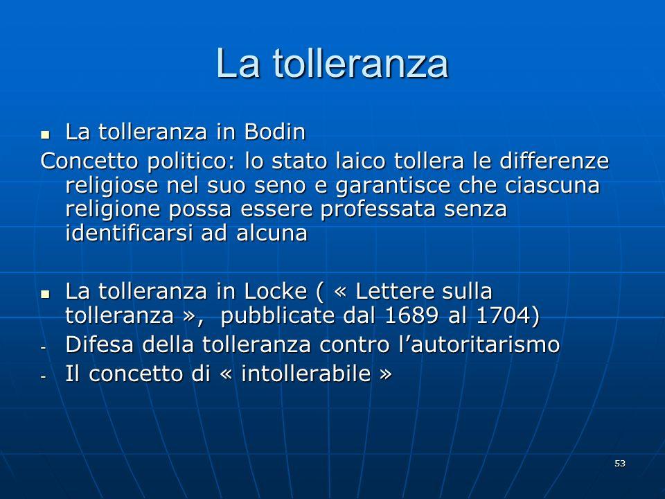 La tolleranza La tolleranza in Bodin