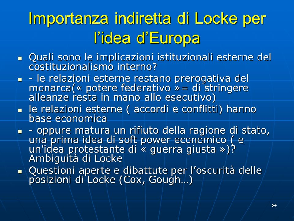 Importanza indiretta di Locke per l'idea d'Europa