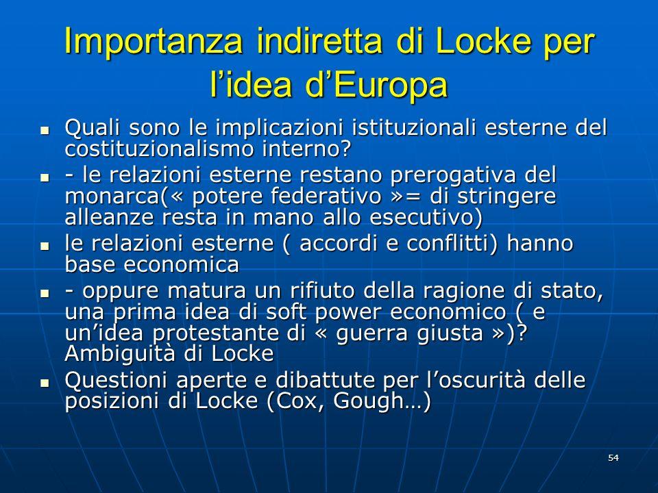 Importanza indiretta di Locke per l'idea d'Europa