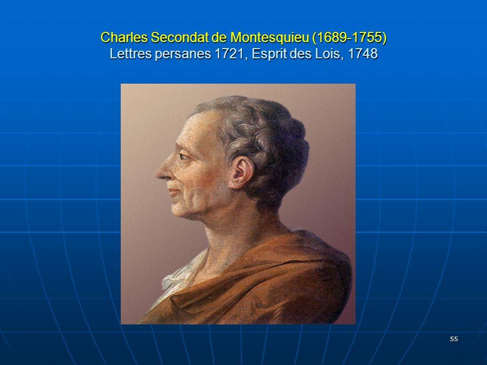 Charles Secondat de Montesquieu (1689-1755) Lettres persanes 1721, Esprit des Lois, 1748