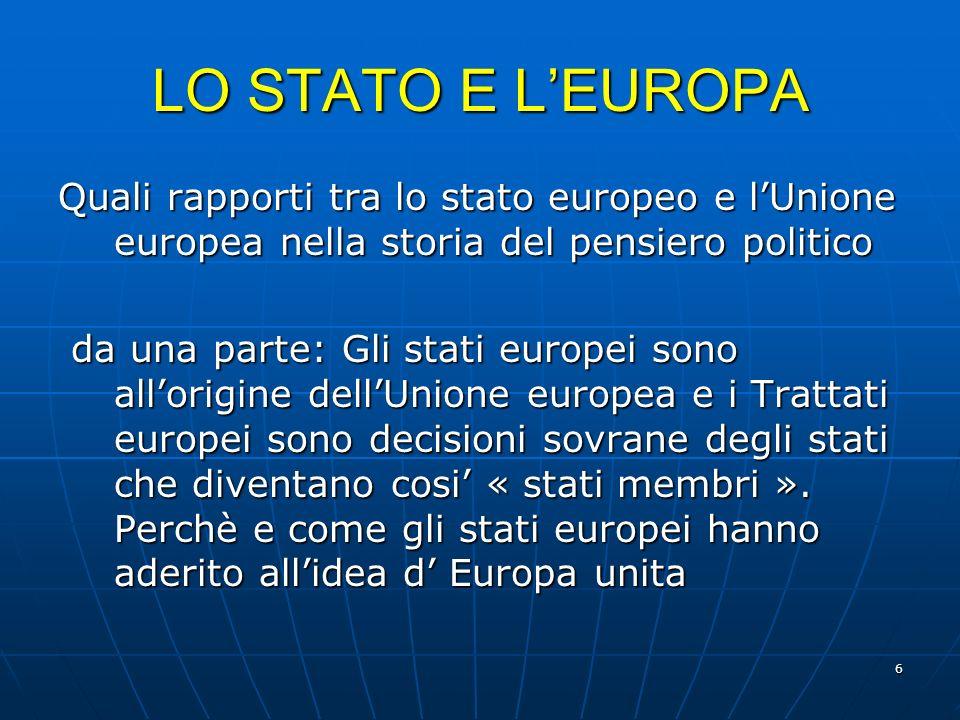 LO STATO E L'EUROPA Quali rapporti tra lo stato europeo e l'Unione europea nella storia del pensiero politico.