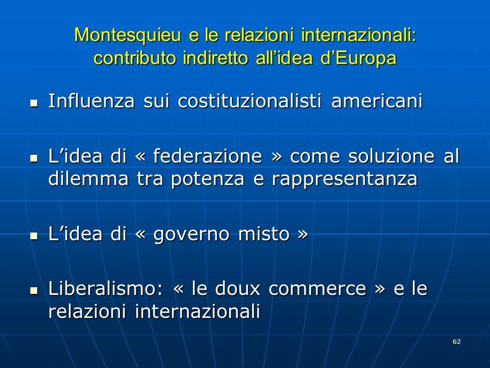 Montesquieu e le relazioni internazionali: contributo indiretto all'idea d'Europa