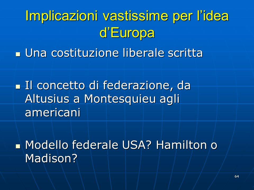 Implicazioni vastissime per l'idea d'Europa