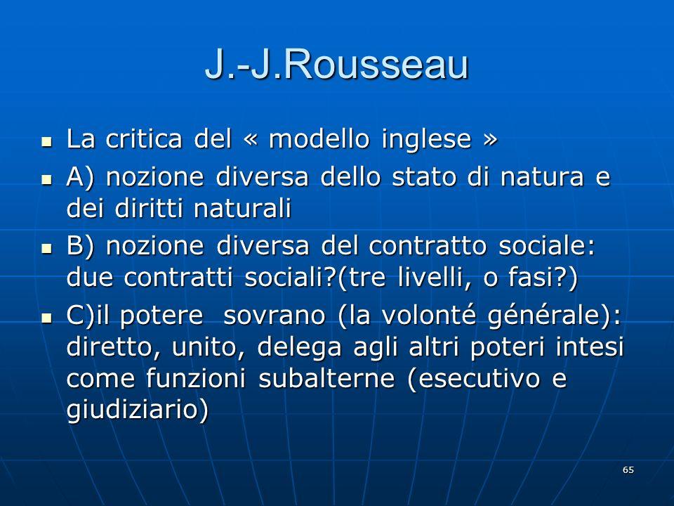 J.-J.Rousseau La critica del « modello inglese »