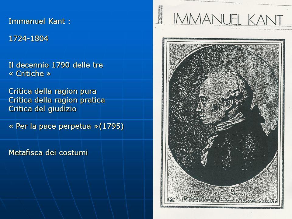 Immanuel Kant : 1724-1804. Il decennio 1790 delle tre « Critiche » Critica della ragion pura. Critica della ragion pratica.