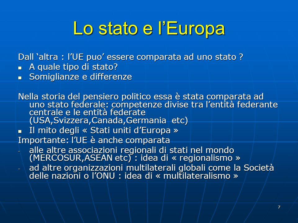 Lo stato e l'Europa Dall 'altra : l'UE puo' essere comparata ad uno stato A quale tipo di stato