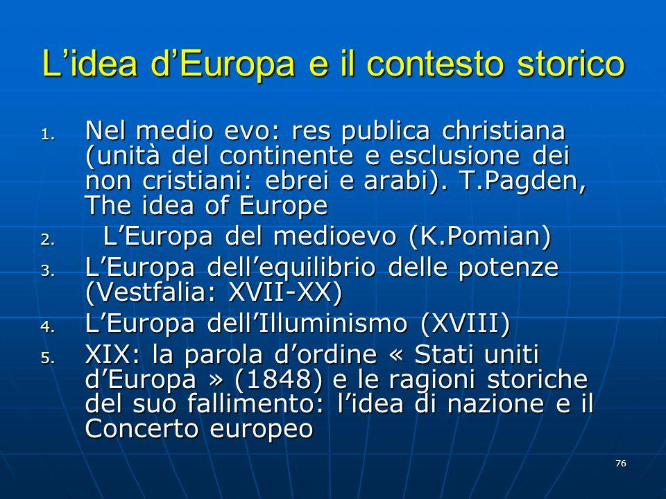 L'idea d'Europa e il contesto storico