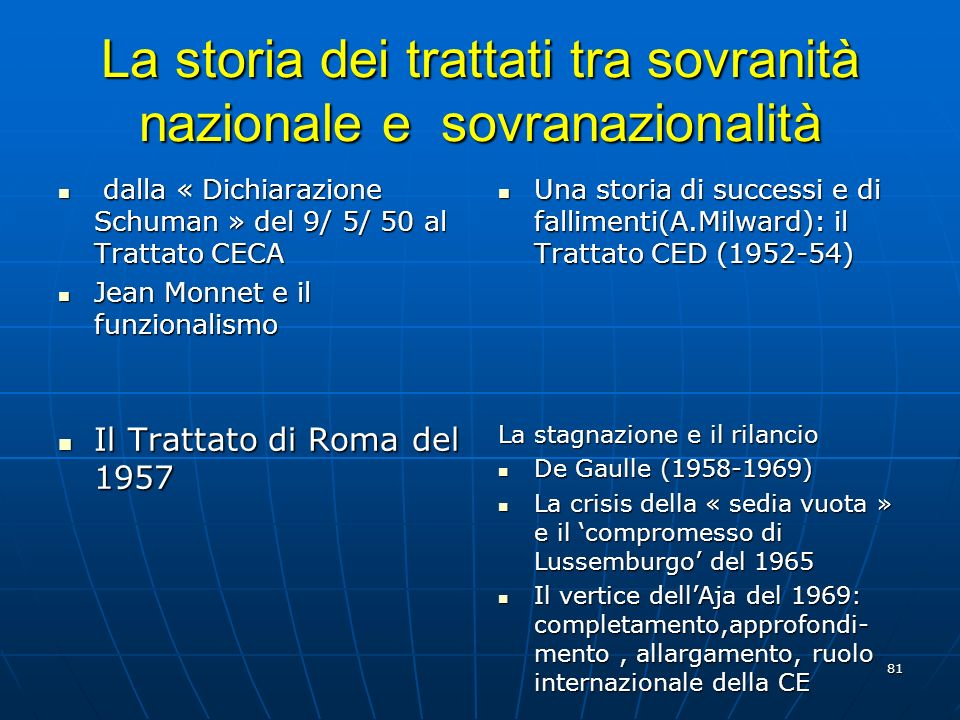 La storia dei trattati tra sovranità nazionale e sovranazionalità