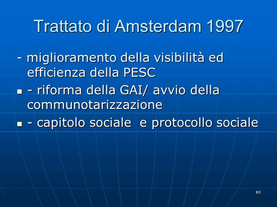 Trattato di Amsterdam 1997 - miglioramento della visibilità ed efficienza della PESC. - riforma della GAI/ avvio della communotarizzazione.
