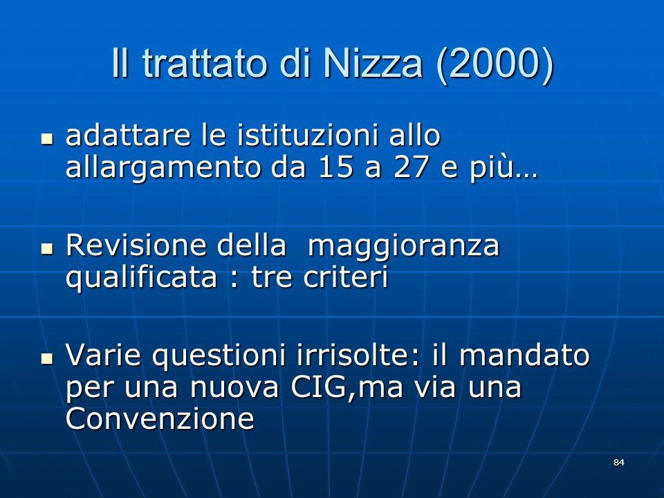 Il trattato di Nizza (2000) adattare le istituzioni allo allargamento da 15 a 27 e più… Revisione della maggioranza qualificata : tre criteri.