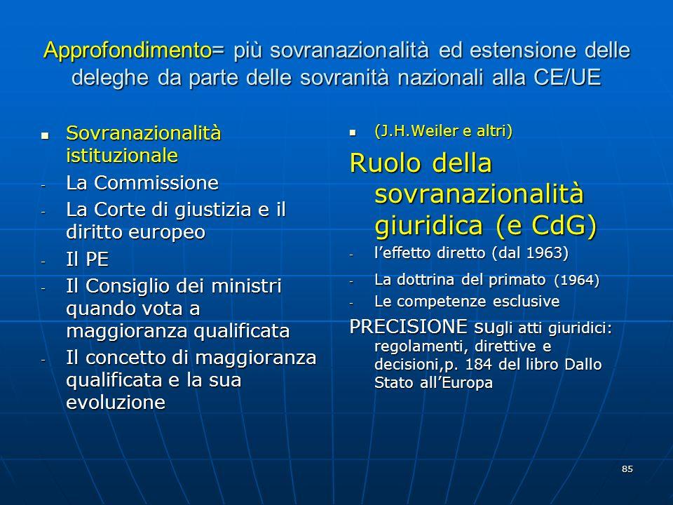 Ruolo della sovranazionalità giuridica (e CdG)