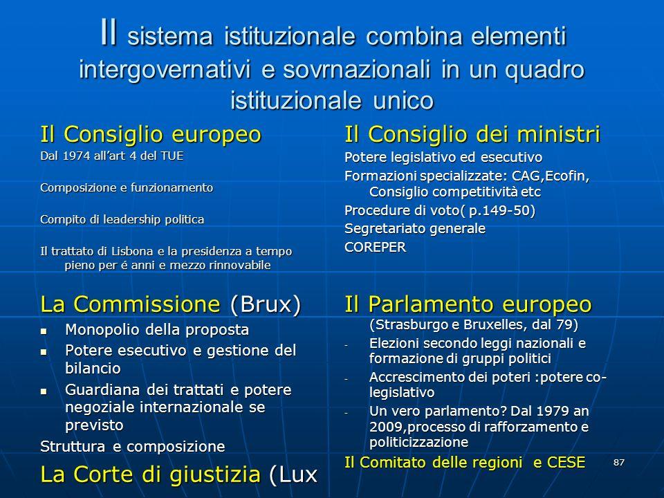 Il sistema istituzionale combina elementi intergovernativi e sovrnazionali in un quadro istituzionale unico