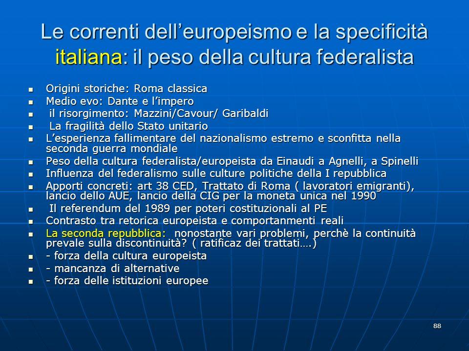 Le correnti dell'europeismo e la specificità italiana: il peso della cultura federalista