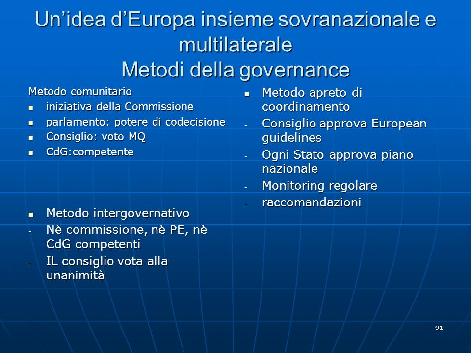 Un'idea d'Europa insieme sovranazionale e multilaterale Metodi della governance
