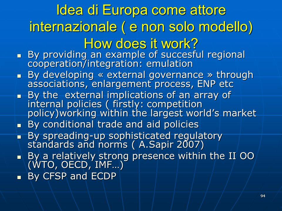 Idea di Europa come attore internazionale ( e non solo modello) How does it work