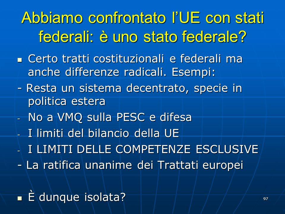 Abbiamo confrontato l'UE con stati federali: è uno stato federale