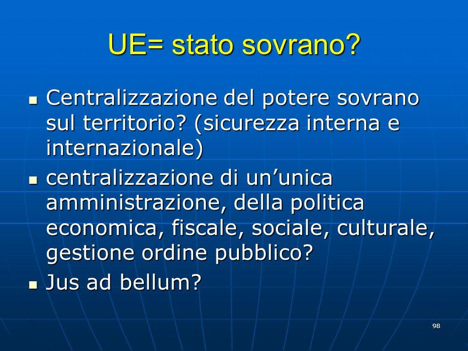 UE= stato sovrano Centralizzazione del potere sovrano sul territorio (sicurezza interna e internazionale)