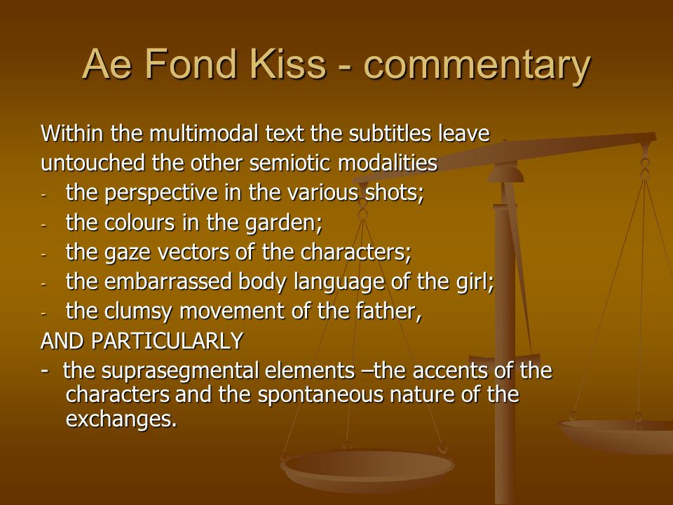Ae Fond Kiss - commentary