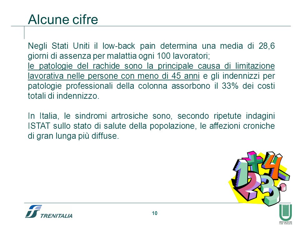 Alcune cifre Negli Stati Uniti il low-back pain determina una media di 28,6 giorni di assenza per malattia ogni 100 lavoratori;