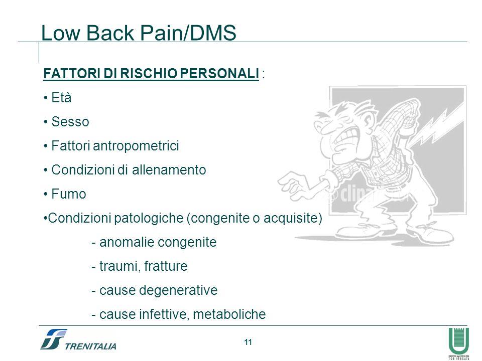 Low Back Pain/DMS FATTORI DI RISCHIO PERSONALI : Età Sesso