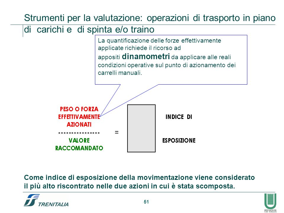 Strumenti per la valutazione: operazioni di trasporto in piano di carichi e di spinta e/o traino
