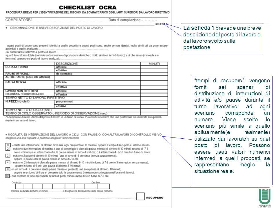 La scheda 1 prevede una breve descrizione del posto di lavoro e del lavoro svolto sulla postazione