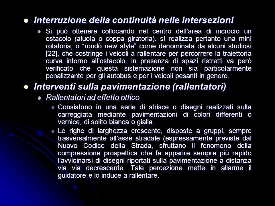 Interruzione della continuità nelle intersezioni