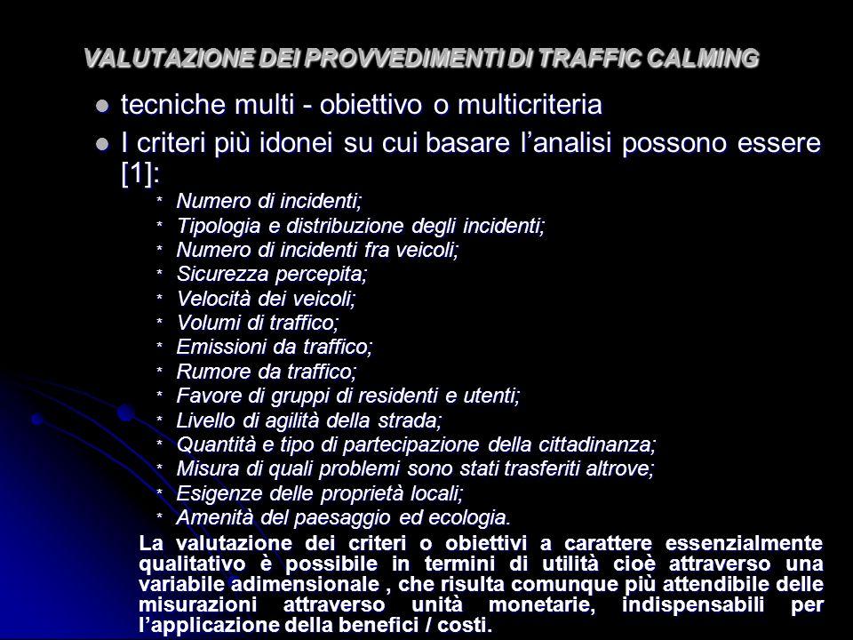VALUTAZIONE DEI PROVVEDIMENTI DI TRAFFIC CALMING