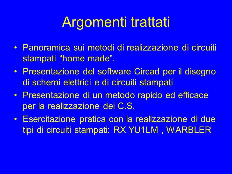 Argomenti trattatiPanoramica sui metodi di realizzazione di circuiti stampati home made .