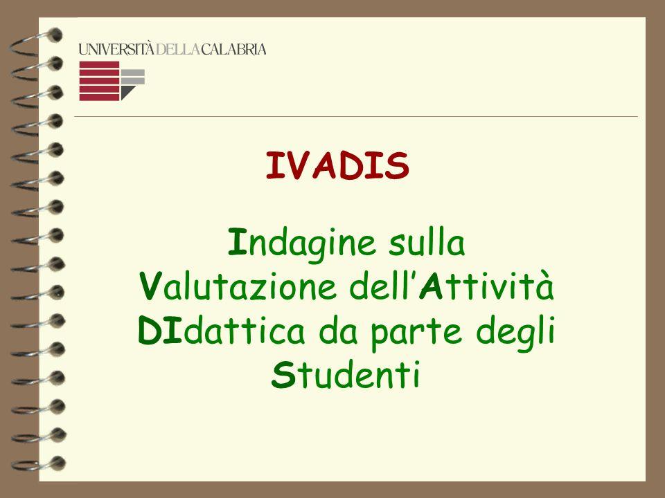 IVADIS Indagine sulla Valutazione dell'Attività DIdattica da parte degli Studenti