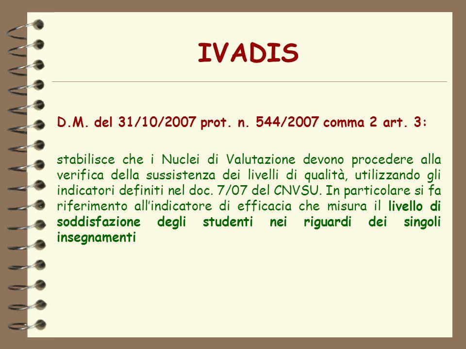 IVADIS D.M. del 31/10/2007 prot. n. 544/2007 comma 2 art. 3: