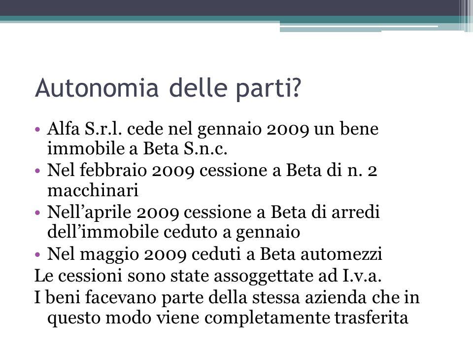 Autonomia delle parti Alfa S.r.l. cede nel gennaio 2009 un bene immobile a Beta S.n.c. Nel febbraio 2009 cessione a Beta di n. 2 macchinari.