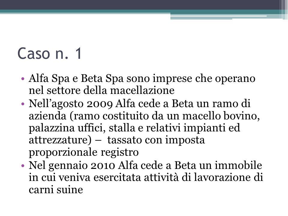Caso n. 1Alfa Spa e Beta Spa sono imprese che operano nel settore della macellazione.