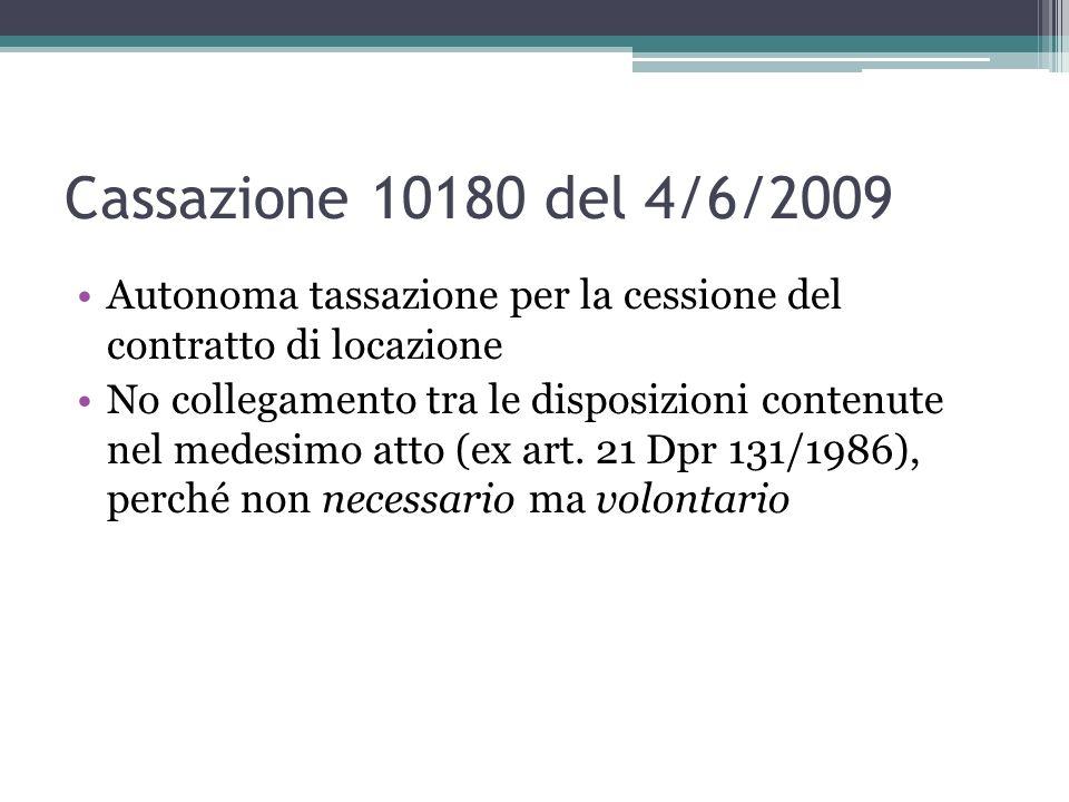Cassazione 10180 del 4/6/2009Autonoma tassazione per la cessione del contratto di locazione.