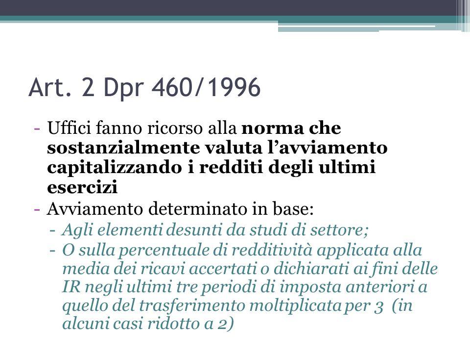 Art. 2 Dpr 460/1996Uffici fanno ricorso alla norma che sostanzialmente valuta l'avviamento capitalizzando i redditi degli ultimi esercizi.