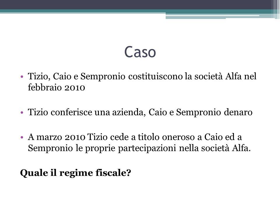 CasoTizio, Caio e Sempronio costituiscono la società Alfa nel febbraio 2010. Tizio conferisce una azienda, Caio e Sempronio denaro.