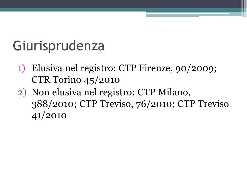 Giurisprudenza Elusiva nel registro: CTP Firenze, 90/2009; CTR Torino 45/2010.