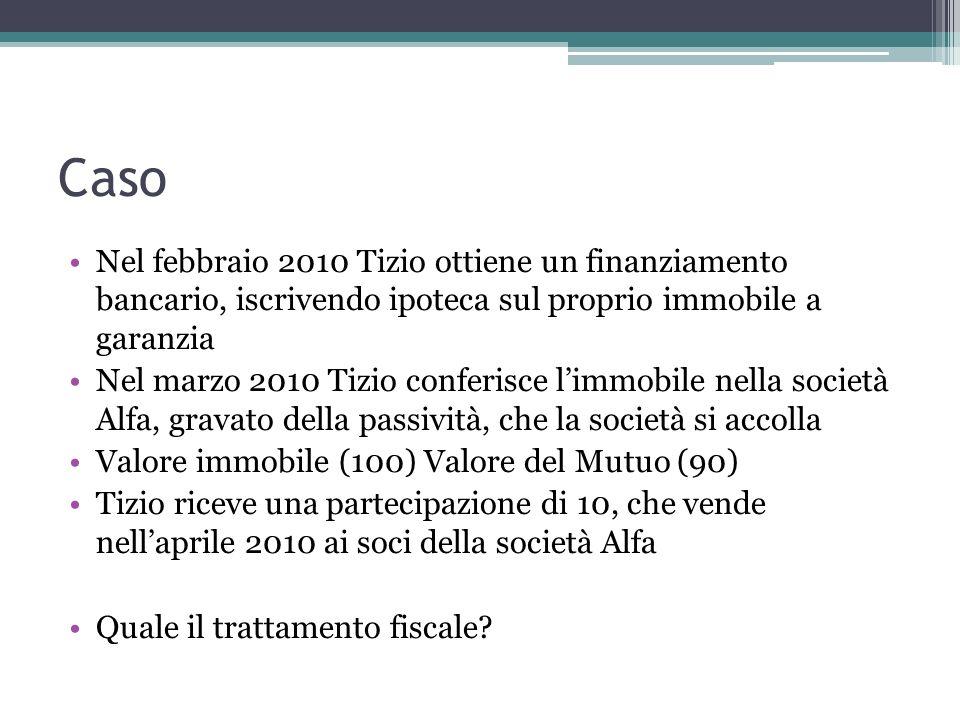 Caso Nel febbraio 2010 Tizio ottiene un finanziamento bancario, iscrivendo ipoteca sul proprio immobile a garanzia.