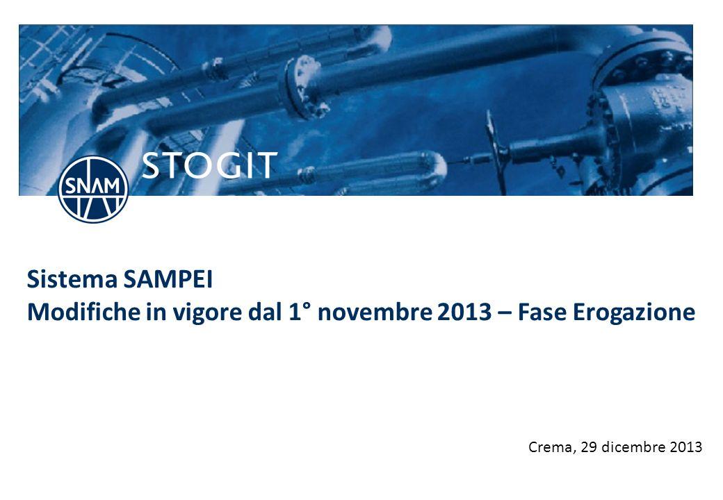 Sistema SAMPEI Modifiche in vigore dal 1° novembre 2013 – Fase Erogazione
