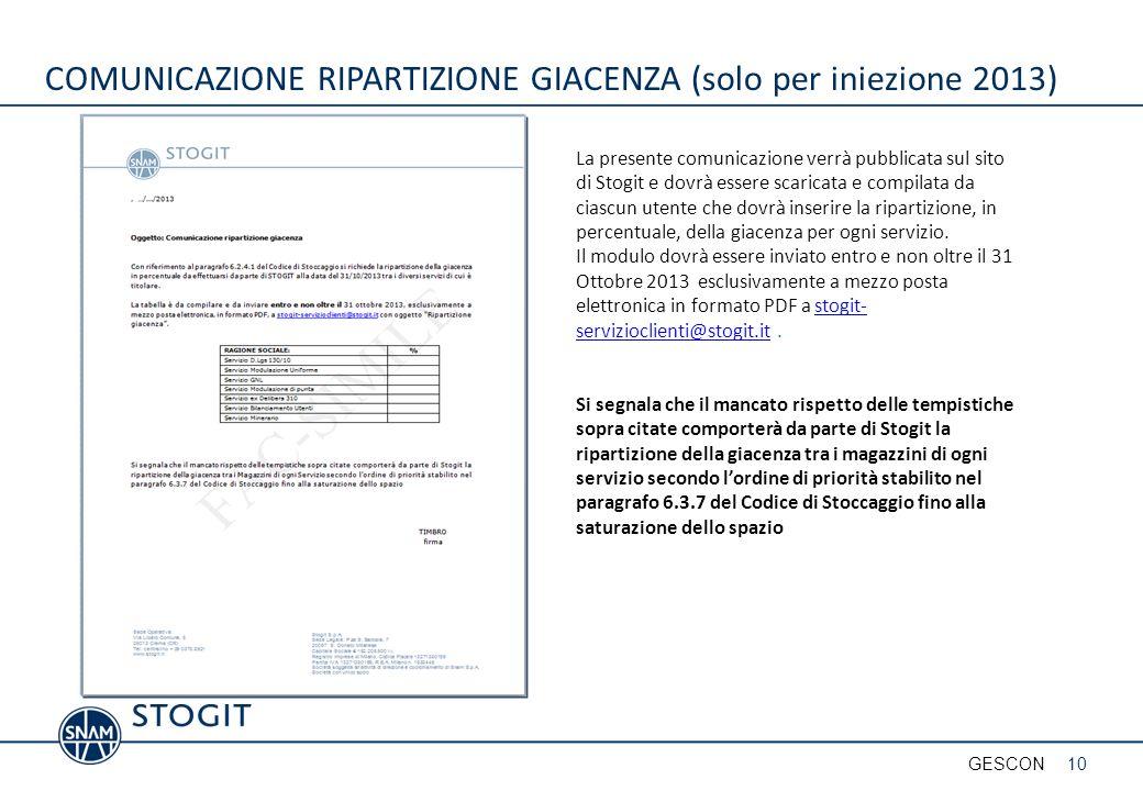 COMUNICAZIONE RIPARTIZIONE GIACENZA (solo per iniezione 2013)