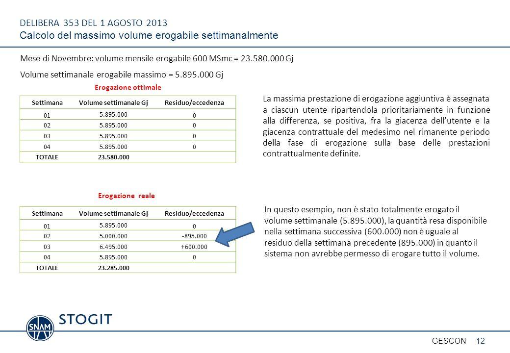 DELIBERA 353 DEL 1 AGOSTO 2013 Calcolo del massimo volume erogabile settimanalmente