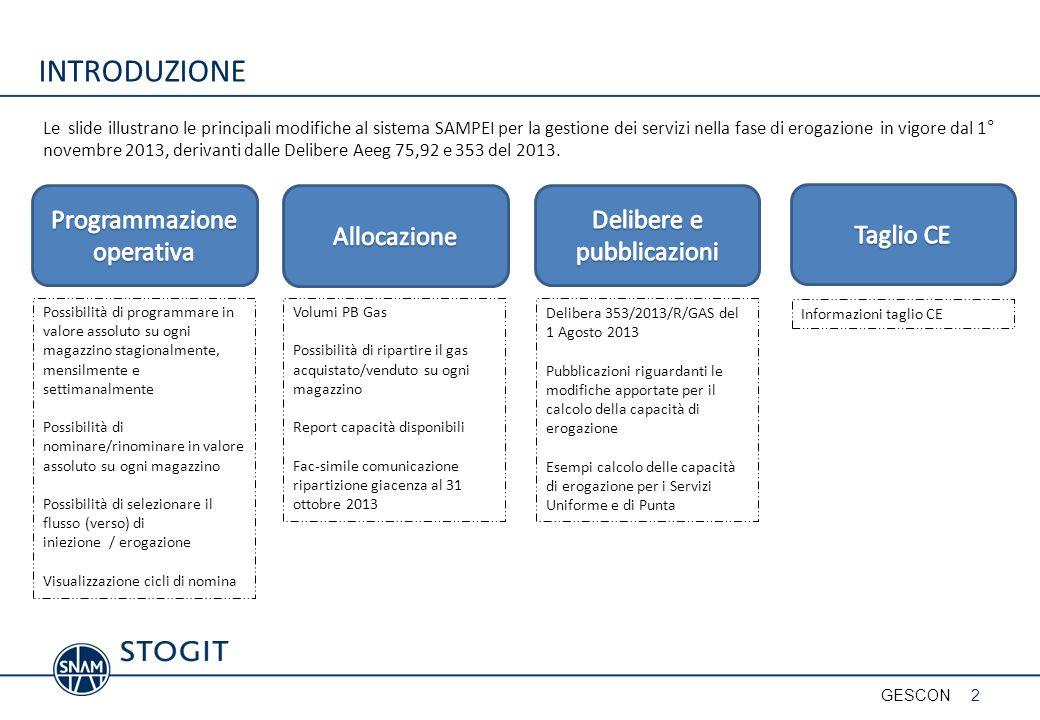 INTRODUZIONE Programmazione operativa Delibere e pubblicazioni