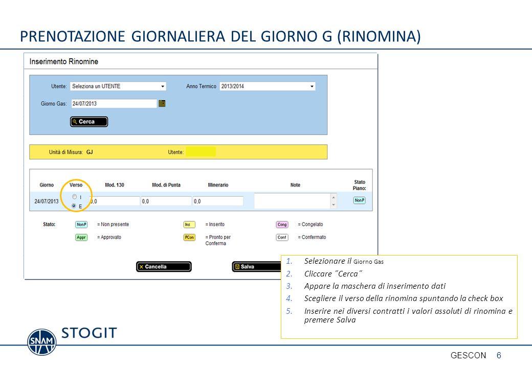 PRENOTAZIONE GIORNALIERA DEL GIORNO G (RINOMINA)