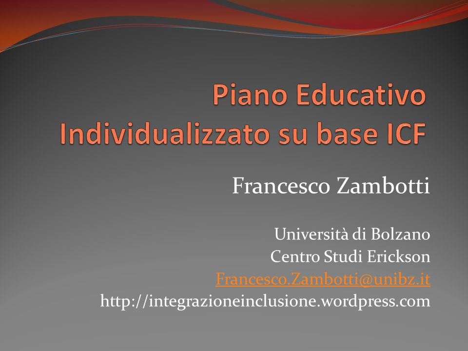 Piano educativo individualizzato su base icf ppt video for Creatore di piano di base